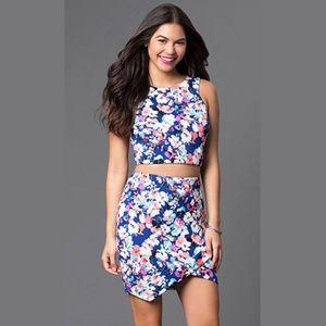As U Wish Floral Short Sleeveless Two-Piece Dress
